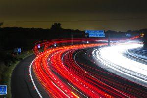 Fast moving motorway traffic