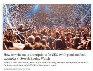 meta description in social media post